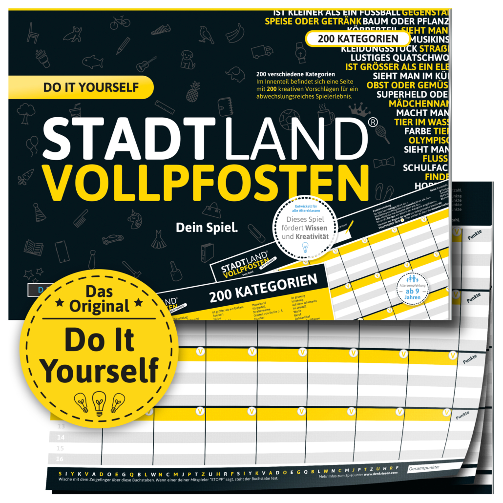 Stadt Land Vollpfosten Do It Yourself DinA4 Format mit 200 Kategorien Reisespiel