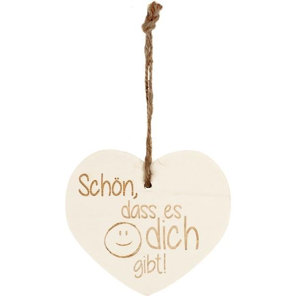 """Kleines Vintage-Herz aus Holz """"Schön, dass es dich gibt"""" 24016"""