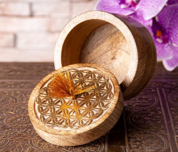 Berk T-24 Holzschatulle klein Blume des Lebens Schatulle mit Blattgoldüberzug