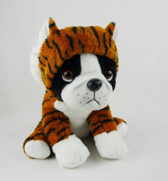 sitzender Hund Bulldogge Plüsch im Anzug Kuscheltier ca 25cm - Tiger