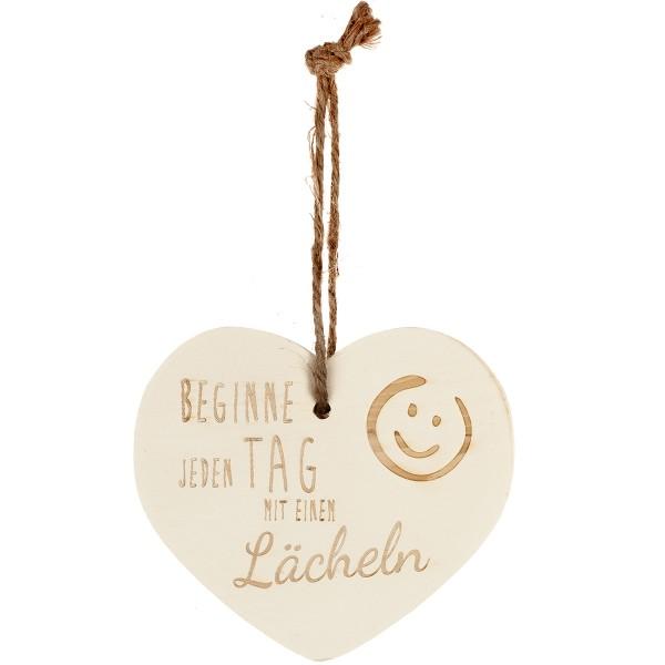 """Kleines Vintage-Herz aus Holz """"Beginne jeden Tag mit einem Lächeln"""" 24006"""