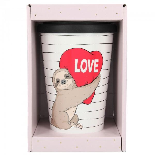 Depesche 2180 -42 To-Go-Becher 350ml Love (Faultier / Sloth) mit Herz