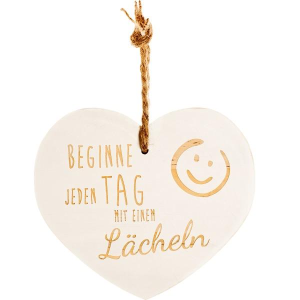 """Vintage-Herz aus Holz """"Beginne jeden Tag mit einem Lächeln"""" 24026"""