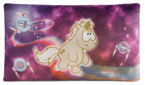 Nici 43726 Kissen goldenes Einhorn Shooting Star im Weltraum ca 43x25cm Plüsch