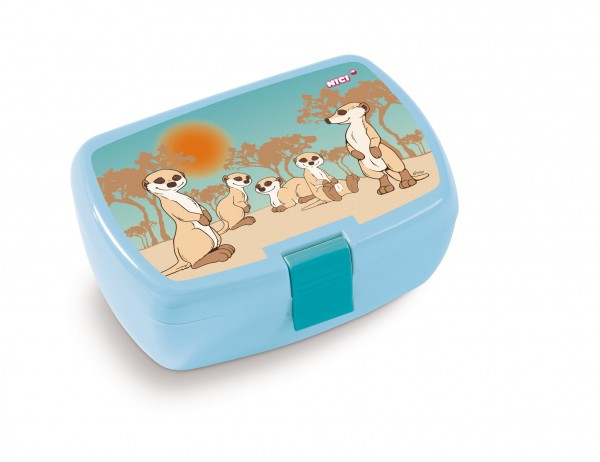 Nici 45440 Brotdose Lunchbox Erdmännchen - Familie hellblau