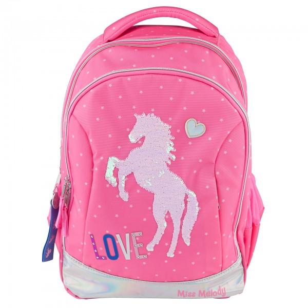 Depesche 10603 Miss Melody Schulrucksack Pferd Pink mit Streichpailletten