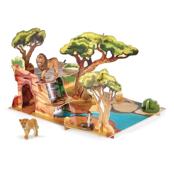 Papo 80007 Große Savanne Spielfläche für Actionfiguren und Tiere inkl. 3 Figuren