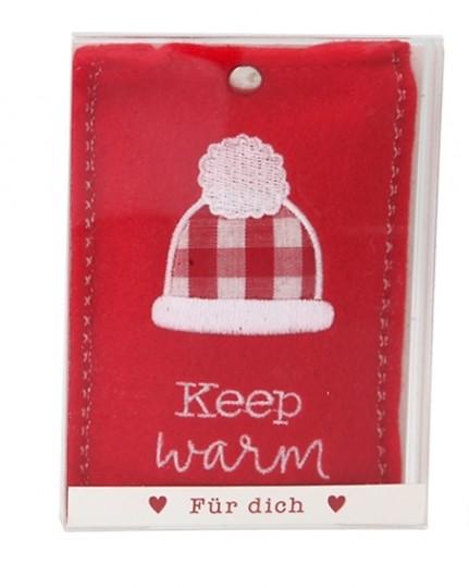 Depesche 10778 Handwärmer in Fleecehülle - Motiv Keep warm rot