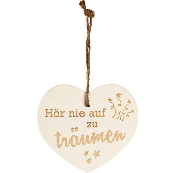"""Kleines Vintage-Herz aus Holz """"Hör nie auf zu träumen"""" 24004"""