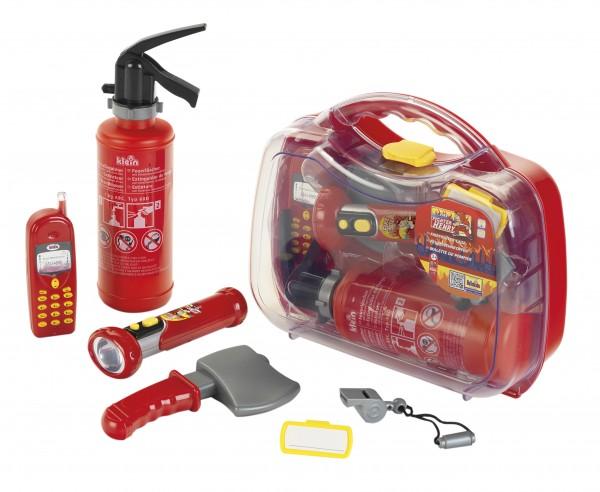 Feuerwehr Koffer Set mit Handy + Lampe + Feuerlöscher und Axt 8984