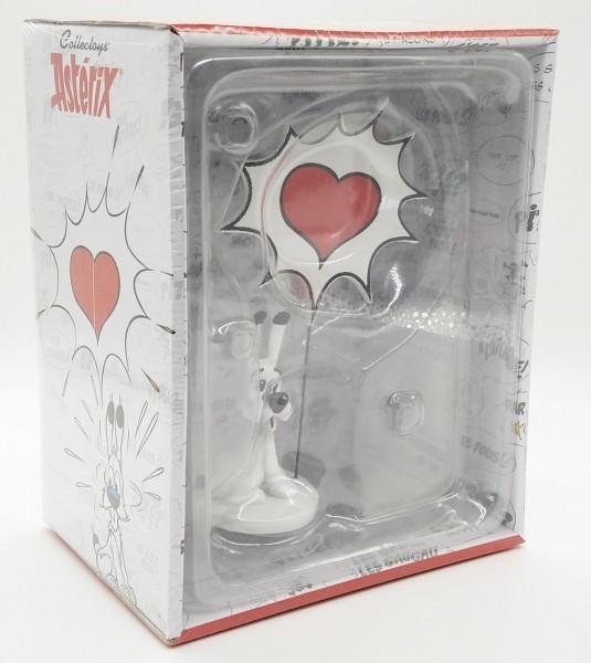 Idefix mit Sprechblase: Herz Sammelfigur Deko Figur ca. 14cm mit Sammelbox