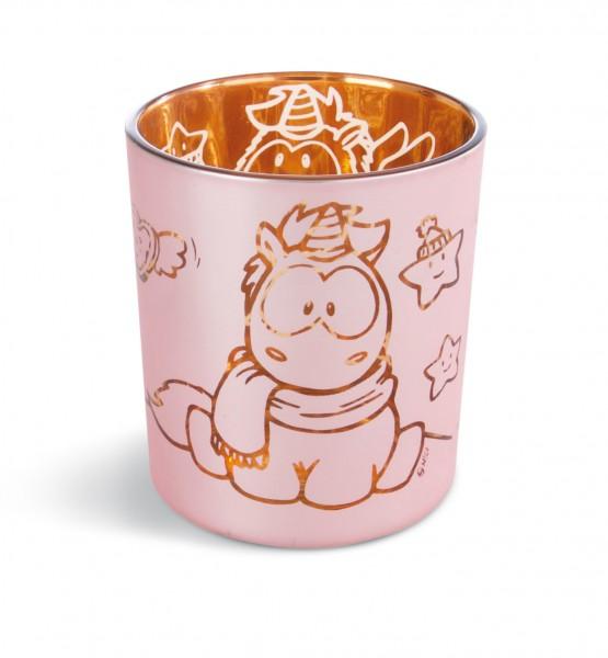 Nici 42449 Kerzenglas Teelichthalter Einhorn Theodor & Rainbow Flair 7x8cm