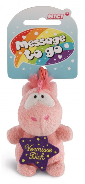 Nici 42732 Message to Go Loop 8cm Einhorn Merry Heart - Vermisse Dich