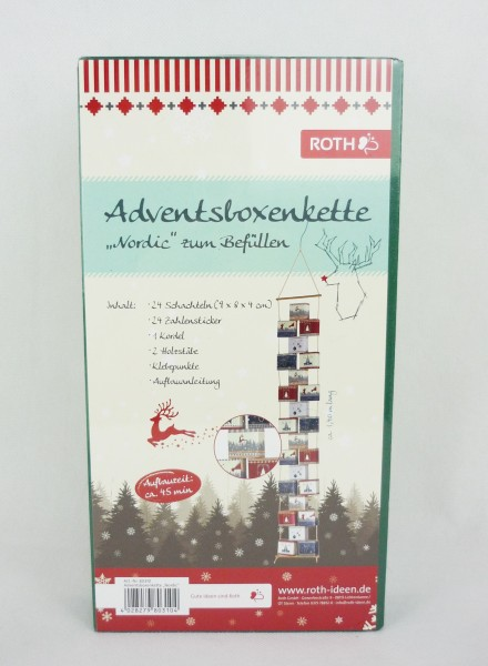 """Roth Adventsboxenkette """"Nordic"""" Adventskalender zum Befüllen 80310"""