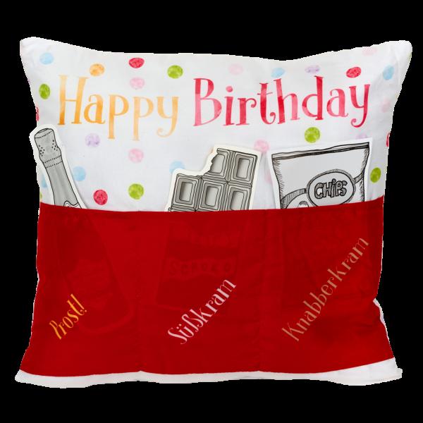 Hergo Sofahelden Kissen mit Taschen 43x43cm - Happy Birthday rot 8976