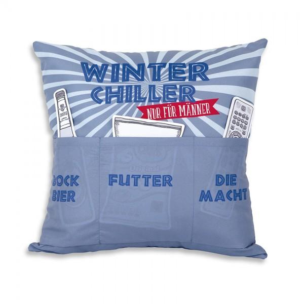 Hergo Sofahelden Kissen mit Taschen 43x43cm - Winter Chiller 8812