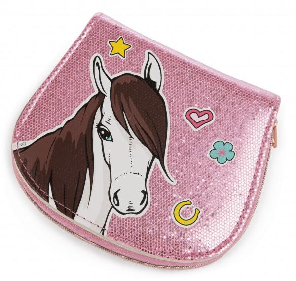 Nici 43224 Geldbeutel Geldbörse Soulmates Pferd rosa glitzernd 13x11cm