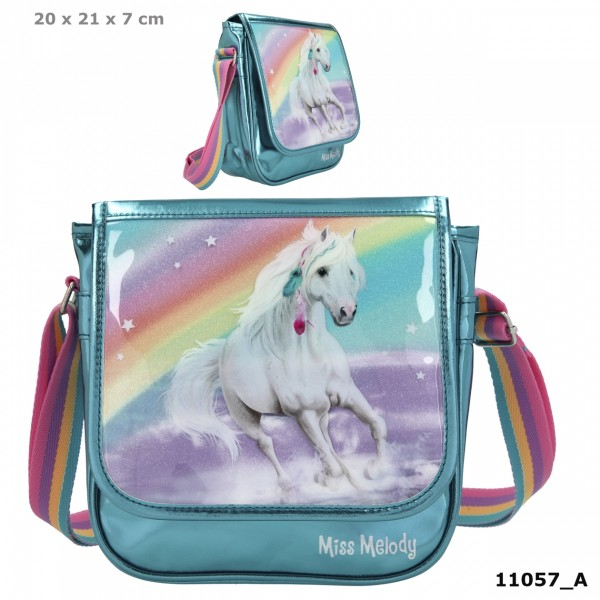 Depesche 11057 weißes Pferd Miss Melody kleine Umhängetasche RAINBOW Regenbogen