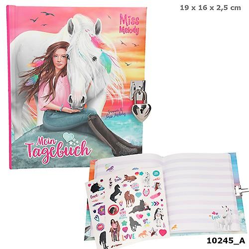 Pferd Miss Melody Tagebuch mit Stickern & Schloss Depesche 10245