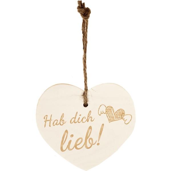 """Kleines Vintage-Herz aus Holz """"Hab Dich Lieb"""" 24002"""