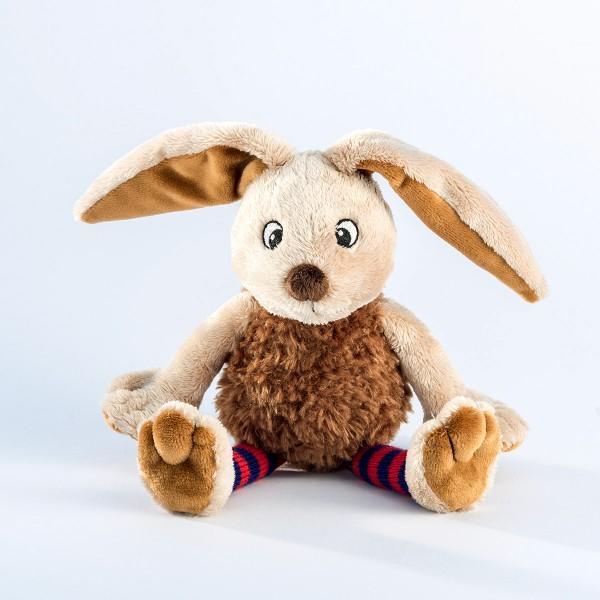Schaffer 5418 Funny Bunny Hase ca 20cm Plüsch Kuscheltier Socke blau-rot