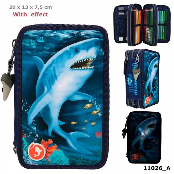 Depesche 11026 Dino World 3-fach Federtasche Unterwasserwelt Hai mit LED