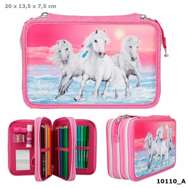 Depesche 10110 weißes Pferd Miss Melody 3-Fach Federtasche Glitzer Pink