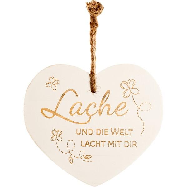"""Vintage-Herz aus Holz """"Lache und die Welt lacht mit dir"""" 24027"""
