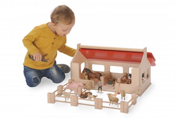 Bätz Holzspielwaren 180188 Bauernhof / Stall aus Holz ca 55x57cm