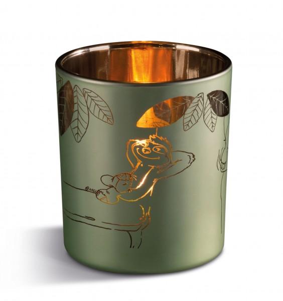 Nici 42553 Kerzenglas Teelichthalter Faultier Chill Bill Chill out Zone 7x8cm