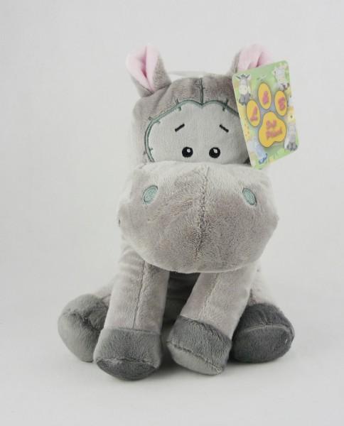 Nilpferd Hippo sitzend mit Comic-Augen Plüsch Kuscheltier ca 27cm