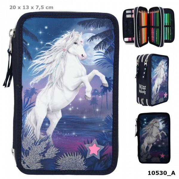 Depesche 10530 weißes Pferd Miss Melody 3-Fach Federtasche mit LED Glitter Ocean