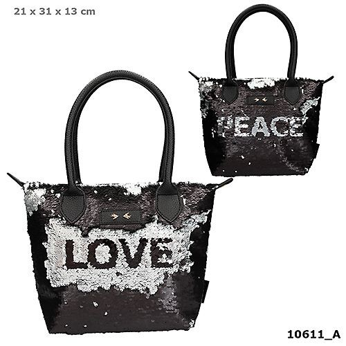Depesche 10611 Trend LOVE Handtasche Streichpailletten Love & Peace schwarz