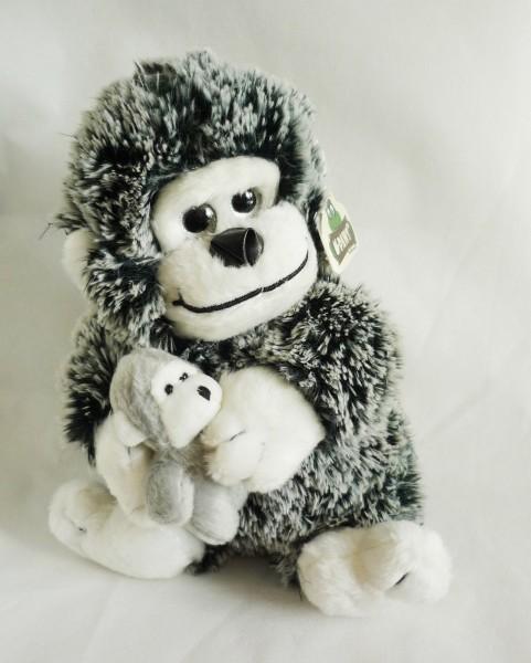 Gorilla mit Baby Plüsch Kuscheltier ca. 25cm schwarz-weiß
