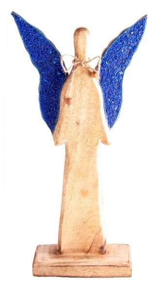 Berk ZW-318 Schutzengel Mangoholz 40cm mit blauen Paillettenkügelchen