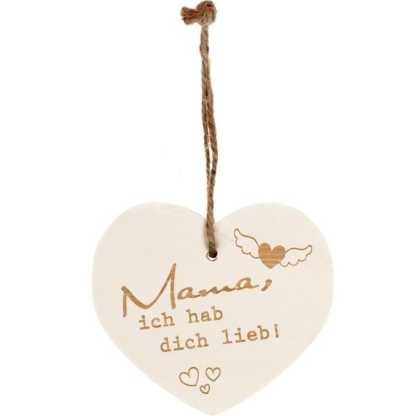 """Kleines Vintage-Herz aus Holz """"Mama ich hab dich lieb"""" 24012"""