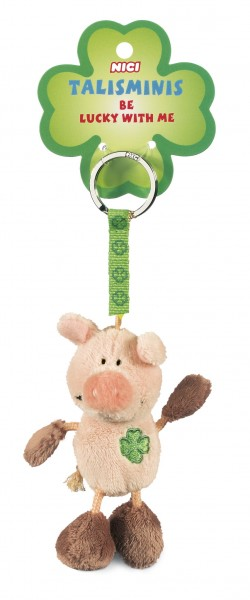 Nici 33688 Schlüsselanhänger Schwein rosa-braun 7cm Talisminis Plüsch