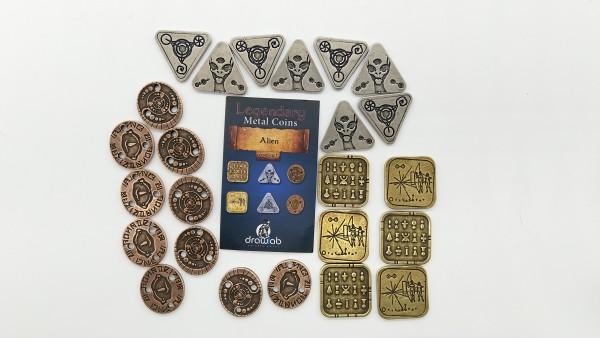 Legendary Metal Coin Set Alien - Metall Münzen Außerirdische (24 Stück)