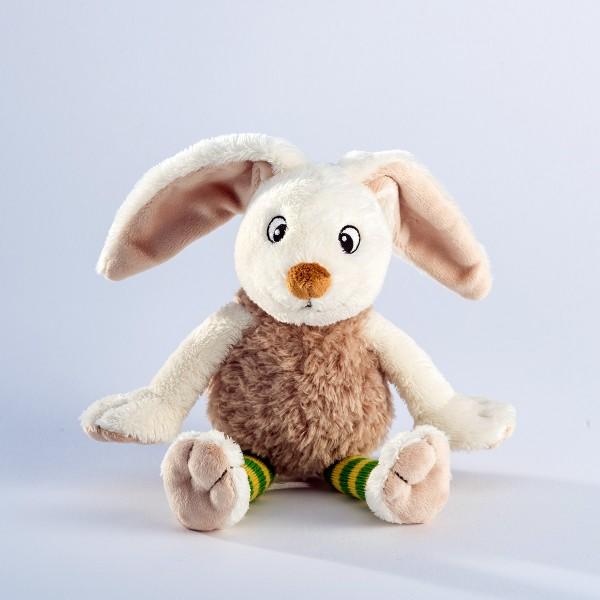 Schaffer 5418 Funny Bunny Hase ca 20cm Plüsch Kuscheltier Socke gelb-grün