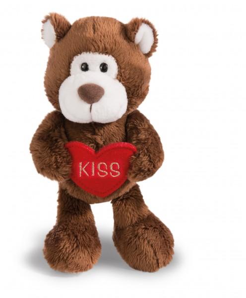 Nici 41004 LOVE brauner Bär mit Herz Aufschrift KISS ca 15cm Plüsch