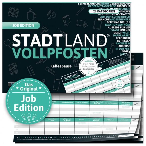 Stadt Land Vollpfosten Job Edition DinA4 Format ab 14 Jahren Reisespiel