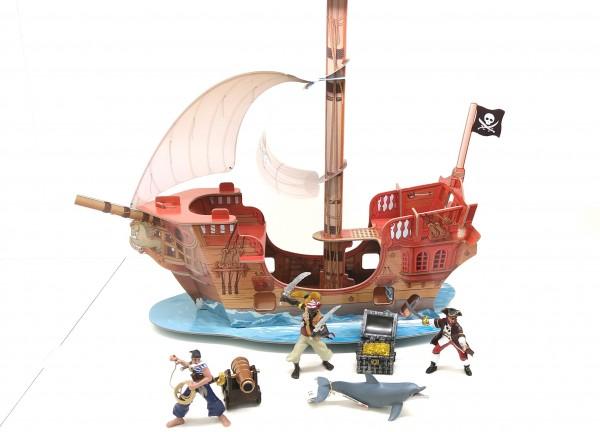 Papo 60256 Piratenschiff aus hochwertig bedruckter Kartonage inkl. 6 Figuren