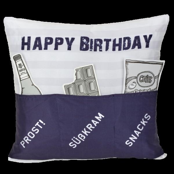 Hergo Sofahelden Kissen mit Taschen 43x43cm - Happy Birthday blau 8977