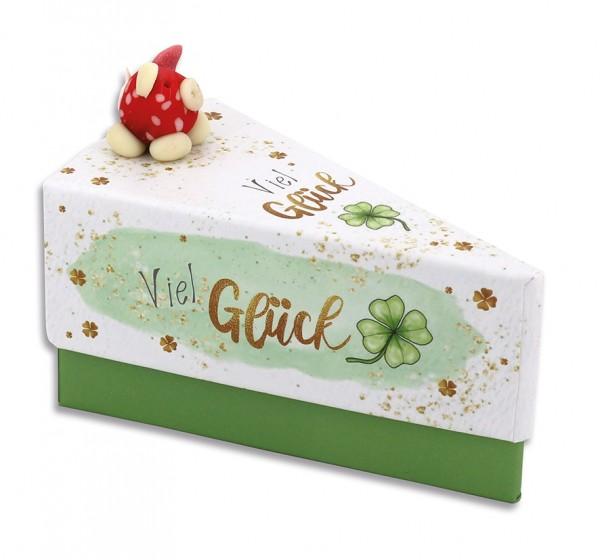 Geschenkschachtel Tortenstück - Glücksschweinchen - Viel Glück 8109
