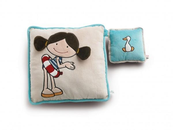 Nici 34942 Kissen Set Minilotta und Ente für Kinder Plüsch 33x33 & 15x15cm