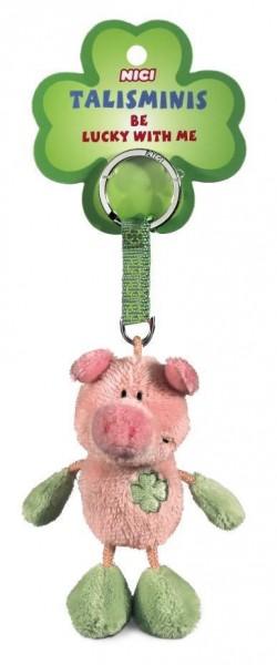 Nici 33687 Schlüsselanhänger Talismini Schwein Pig rosa-grün Keychain Plüsch 7cm