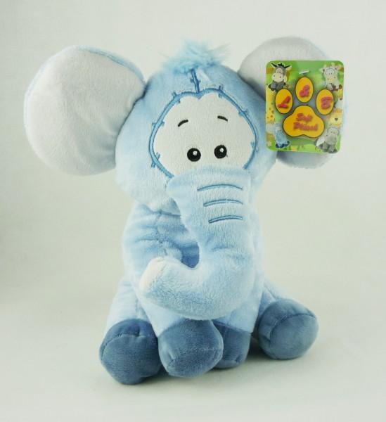 blauer Elefant sitzend mit Comic-Augen Plüsch Kuscheltier ca 27cm