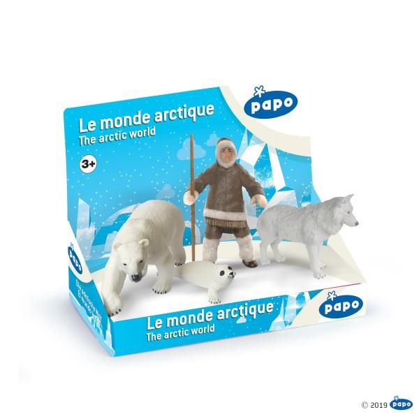 Papo 80006 Arktische Welt mit 4 handbemalten Figuren - Eisbär, Robbe, Bewohner