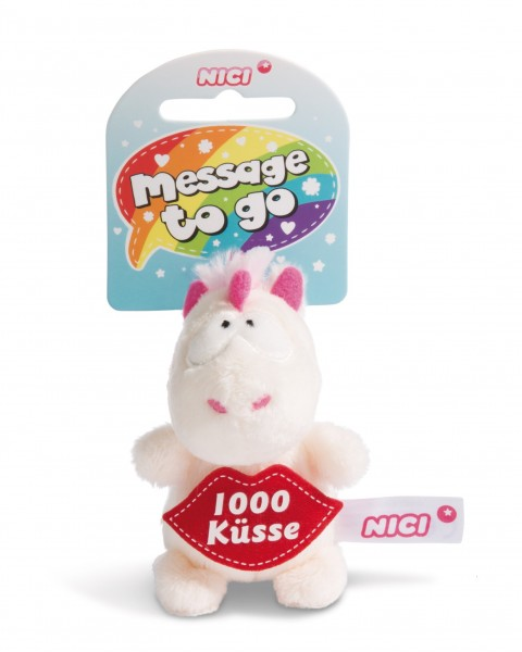 Nici 44984 Message to Go Loop 8cm Einhorn Theodor - 1000 Küsse