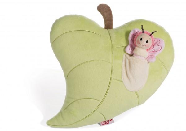 Nici 44939 Kissen grünes Blatt mit Schmetterling 3D-Element Plüsch Hello Spring